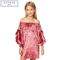 HAYDEN Girls Velvet Dress 7 To 14 Years Teenage Girls Off Shoulder Dress Brand Kids Ruffle