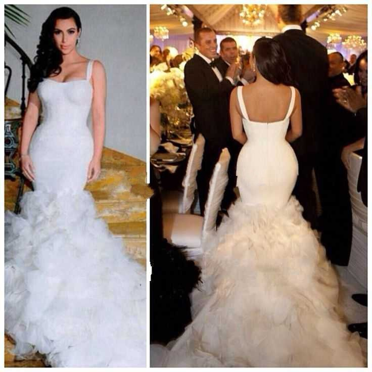 2017 new sexy sweetheart mermaid church white decals transparent flexible pipe TR98 Kim kardashian wedding dress