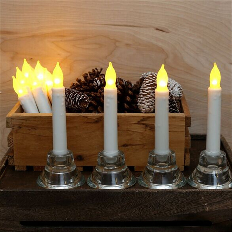 buy set of 12 flameless ivory mini wax dipped flickering amber led taper candles for dinner batteries not included from reliable candle