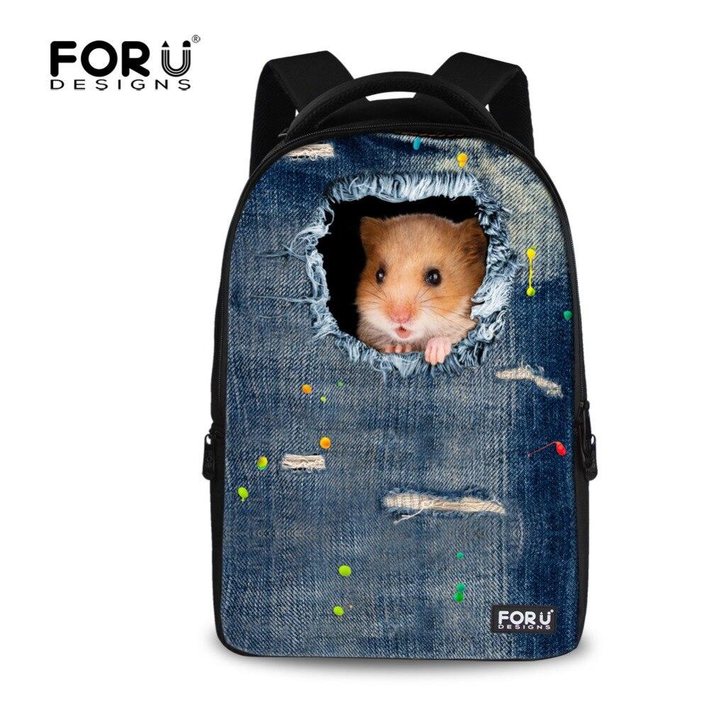 ФОТО New 3D Animal Cute Cat Denim Printing Teenager Girls Backpack Children Schoolbags Mochila Travel Bags High Capacity