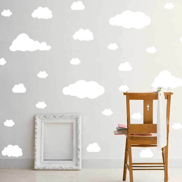 cartoon clouds wall stickers 22 pcs/set 5 different sizes nursery vinyl sticker bedroom decor wall stickers for kids room 2019