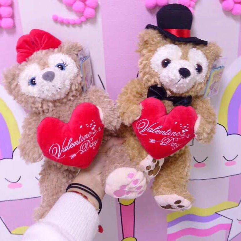 One pair Duffy Bear Shelliemay plush Toy Kwaii Bears with heart Doll Soft Stuffed Animals Dolls For Lovers Girls Birthday Gifts