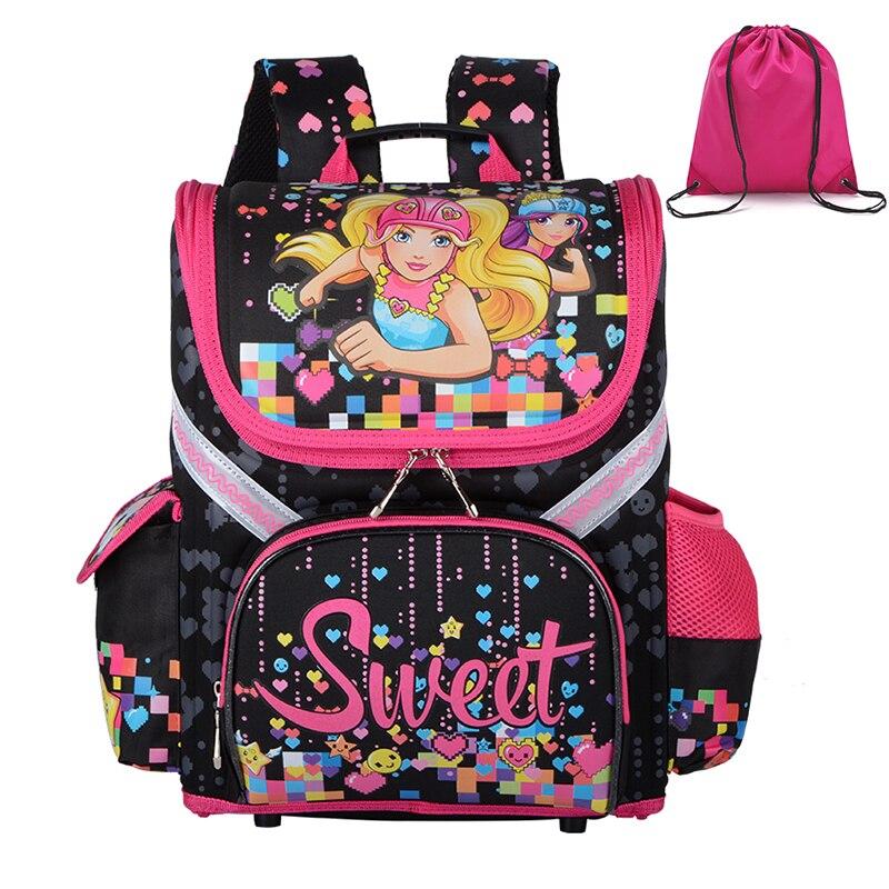 d35285fce0e1 2018 New Girls High Monster School Bags Orthopedic Cartoon Cat Backpacks  for Primary Students Children Kids