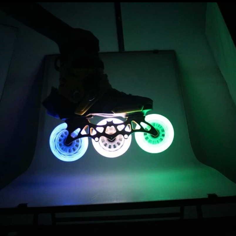 Prix pour Lumineux PU vitesse inline skate roues (pack de 4) Flash rouleaux Rodas 100mm 110mm Rouleau Lame Ruedas roller roues