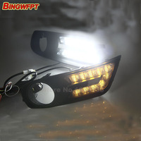 Turn off and dimming style relay LED Car DRL Daytime Running Lights for Nissan Tiida 2012 2013 2014 2015 with fog lamp