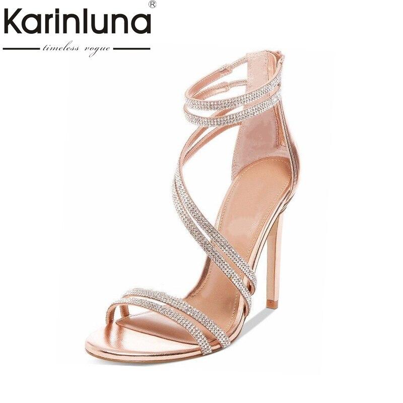 Karinluna di Alta Quliaty di Grandi Dimensioni 33-43 Scarpe di Marca Delle Donne Super-Tacchi Alti Pattini Del Partito Dei Sandali Sexy di Estate Cristalli delle donne