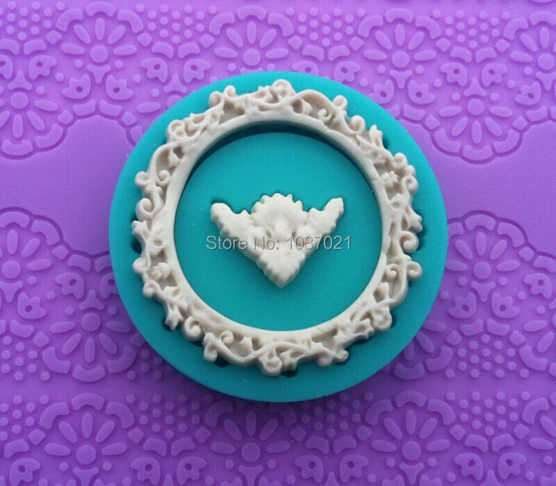 wholesale 10 pcslot ky 0331 4 100 food grade 3d silicone round photo frame shapes fondant candy chocolate ice cake moulds