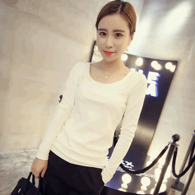 2016 Autumn New Korean Version Was Thin Big Yards Bottoming T Shirt Slim Solid Color Round