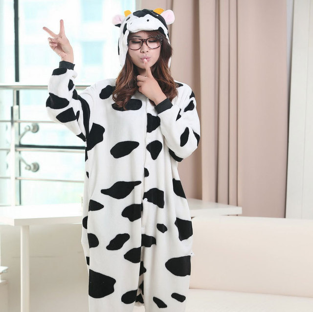2b19d91bd986 Flannel Cow Cosplay Onesies Footed Pajamas Plus Size Hooded Jumpsuits  Winter Animal Costume for Adults