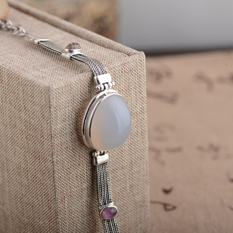 GZ 925 Silver Bracelet Natural White Chalcedony Link Chain S925 Thai Silver Bracelets for Men Jewelry