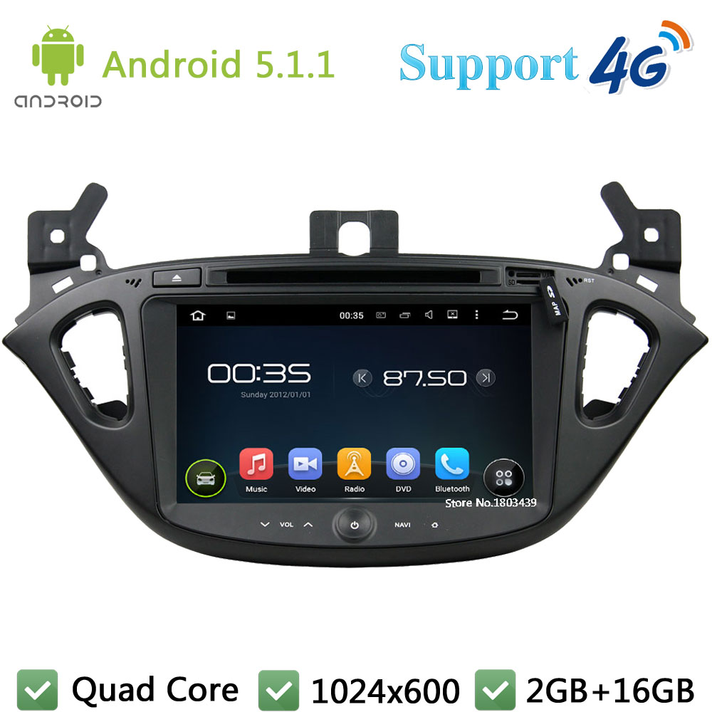 Quad Core 8″ 1024*600 2Din Android 5.1.1 Car DVD Video Player Radio Stereo PC BT FM DAB+ 3G/4G WIFI GPS Map For Opel Corsa 2015