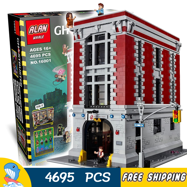4695pcs Ghostbusters Firehouse Headquarters Big House Fire Station Model Building Kits Blocks Children Toys Compatible With lego 4695pcs lepin 16001 city series firehouse headquarters house model building blocks compatible 75827 architecture toy to children