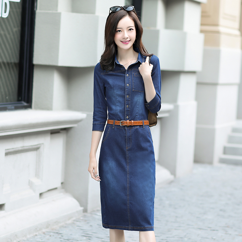 2019 Hot Sale Women Fashion Half Sleeve Dresses Solid Slim Denim Shirt Dresses Ladies Knee length