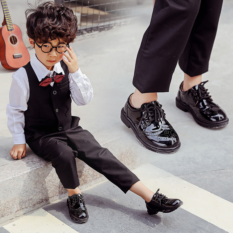 Boys Dress Leather Shoes for Kids Black Genuine Leather Oxford Wedding  Shoes Children Flat Etiquette School Shoes Rubber Sole-in Leather Shoes  from Mother ... 4255a4abd176