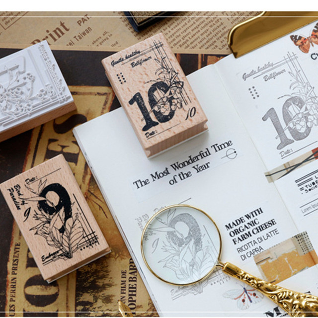 12 Month Wooden Stamps Planning rubber wood stamp craft label kids Seal for DIY Scrapbooking card making tool Album decoration