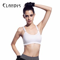 FLANDIS Sports Bra Women Push Up Fitness Yoga Bra Adjustable Shake Proof Elastic Band Gym Yoga