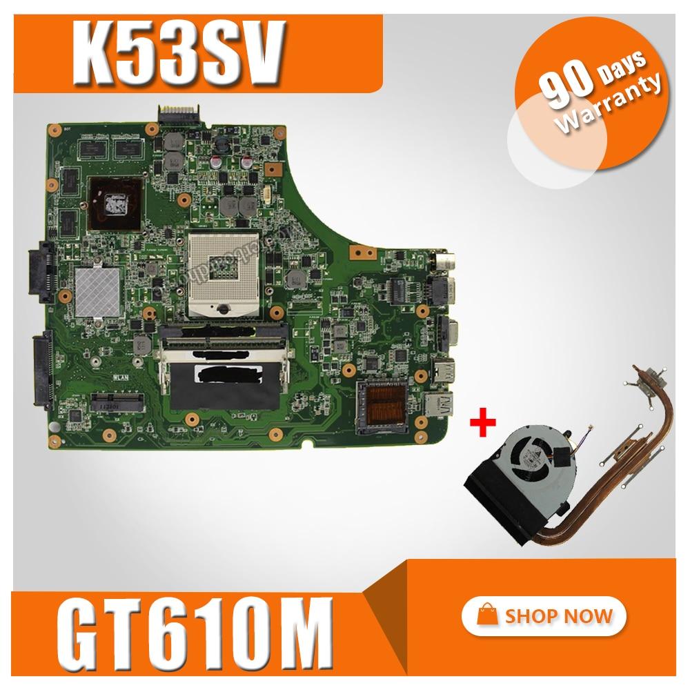 цена на send fan K53SV motherboard GT610M 2GB K53SV For ASUS A53S K53S X53S P53S K53SJ K53SM K53SV laptop Mainboard test 100% ok
