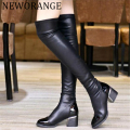 2017 Fashion PU Leather Over Knee Boots Women Sequined Toe Elastic Stretch Thick Heel Thigh High Riding Boots Big Size 40 WBS156