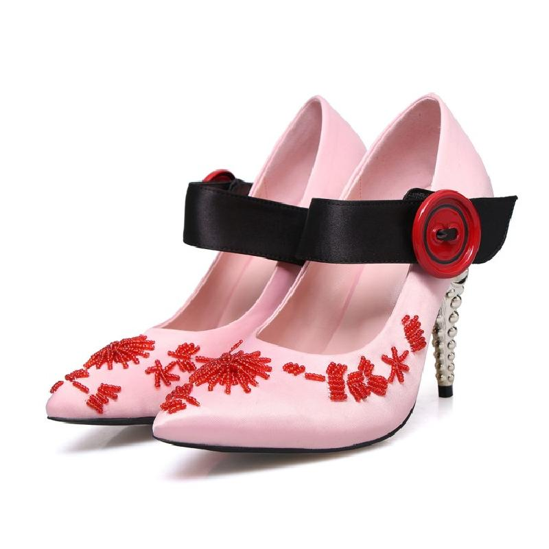 De Fleur Pic Femmes Zapatos Mujer As Mariée Perles as Décontracté Janes Strap Mary Soie À Pompes Rouge Boucle Hauts Chaussures Pic Talons Bout Pointu qg8waWFU