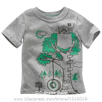 100% Cotton Cartoon Baby Kids Boys Children Clothing Clothes T-shirt Tees Base Shirts Tanks Vest Tops, Boys Summer t shirts Vest