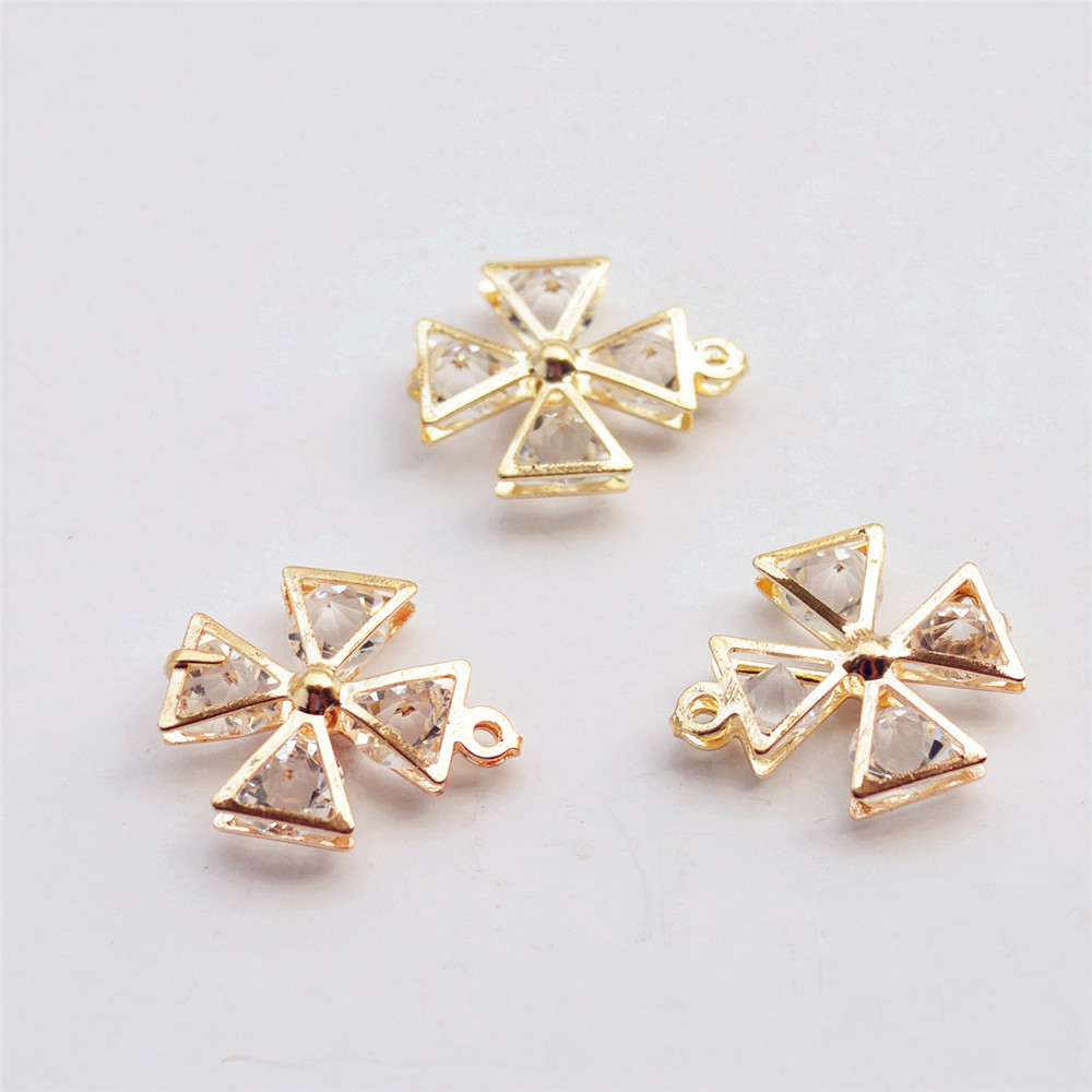 New KC Gold Alloy Crystal Diamond DIY charms Pendants Findings Wholesales, Hollow Crystal Clover Necklace Pendants