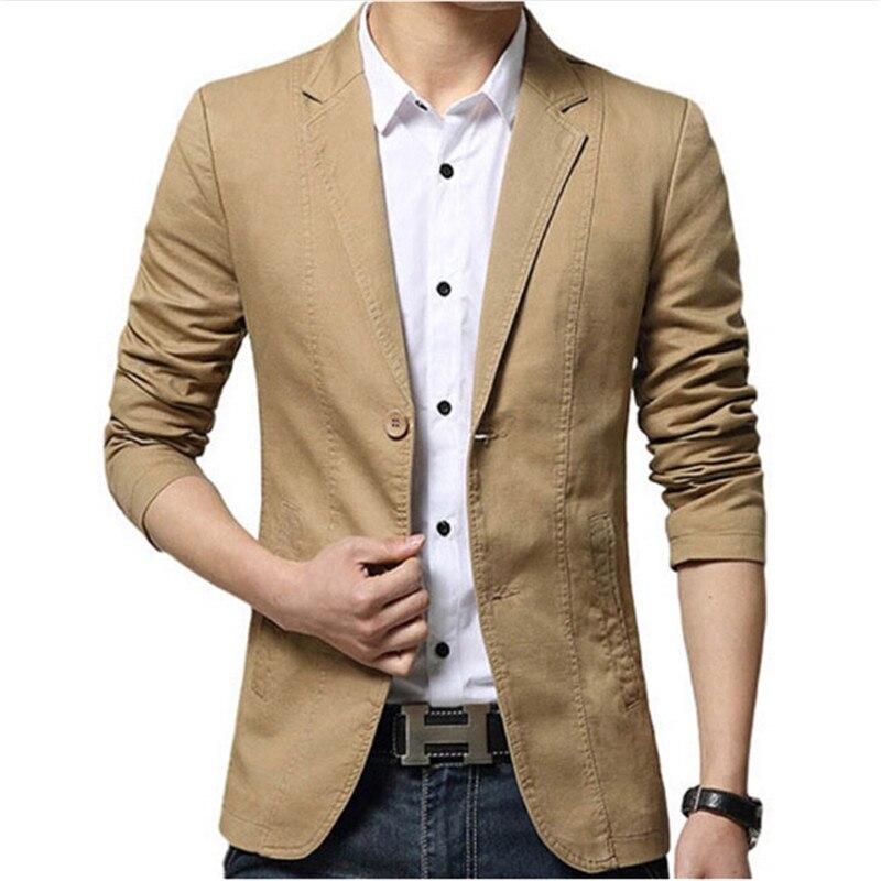 Plus Big Size XXXL Men Casual Blazers 2016 New Brand Designer Autumn Spring Slim Fit Business Casual Khaki Men Suit Jackets