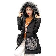 Женщины зима ватные куртки женщин большой меховой воротник средней длины вниз хлопка-ватник парка плюс размер зима пальто куртки женщин