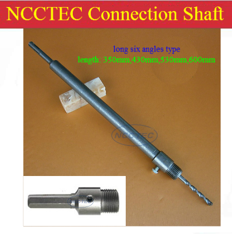 [long 6 angles handle] 430mm 17.2'' long connection shaft NCP4306A for carbide wall core bits | FREE shipping with a FREE gift long long