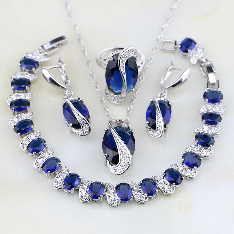925 Sterling Silver Jewelry Classic Blue Zircon White CZ Jewelry Sets For Women Wedding Earring/Pendant/Necklace/Bracelet/Ring viennois new blue crystal fashion rhinestone pendant earrings ring bracelet and long necklace sets for women jewelry sets