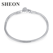 SHEON Latest Women Silver Bracelet Simple Design Snake Chain , Size 3MM 20CM  & Bangle Fashion Jewelry