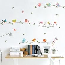 купить Bird Branch birdcage wall stickers for kids rooms living room bedroom window wall decals mural arts poster дешево