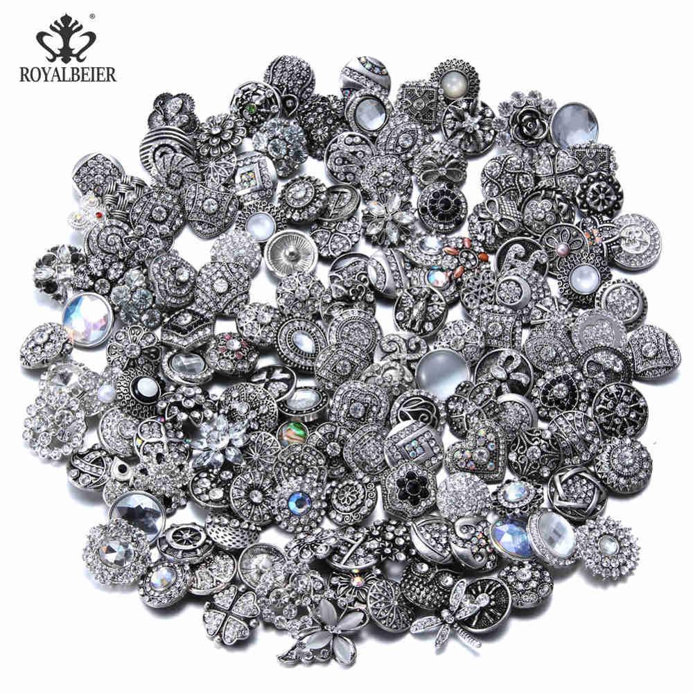 50 шт./лот, смешанный металл и стекло, 18 мм, кнопки, ювелирное изделие, сделай сам, стразы, кнопки, подвески для кнопки сделай сам, браслет, ювелирное изделие - Окраска металла: Top White Series
