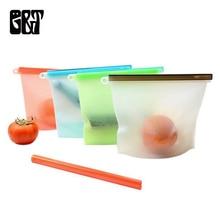 Food Silicone Fresh Bag Reusable Vacuum Sealed Freezer Slide Lock Snacks/Sandwiches/Meat Marinades Storage Bags Kitchen Tool