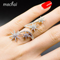 2016 New Fashion Sunflower Rings for Women Zirconia Micro Multi Layer Full Stars Opening Long Ring  Gold Plated Jewelry ZK35