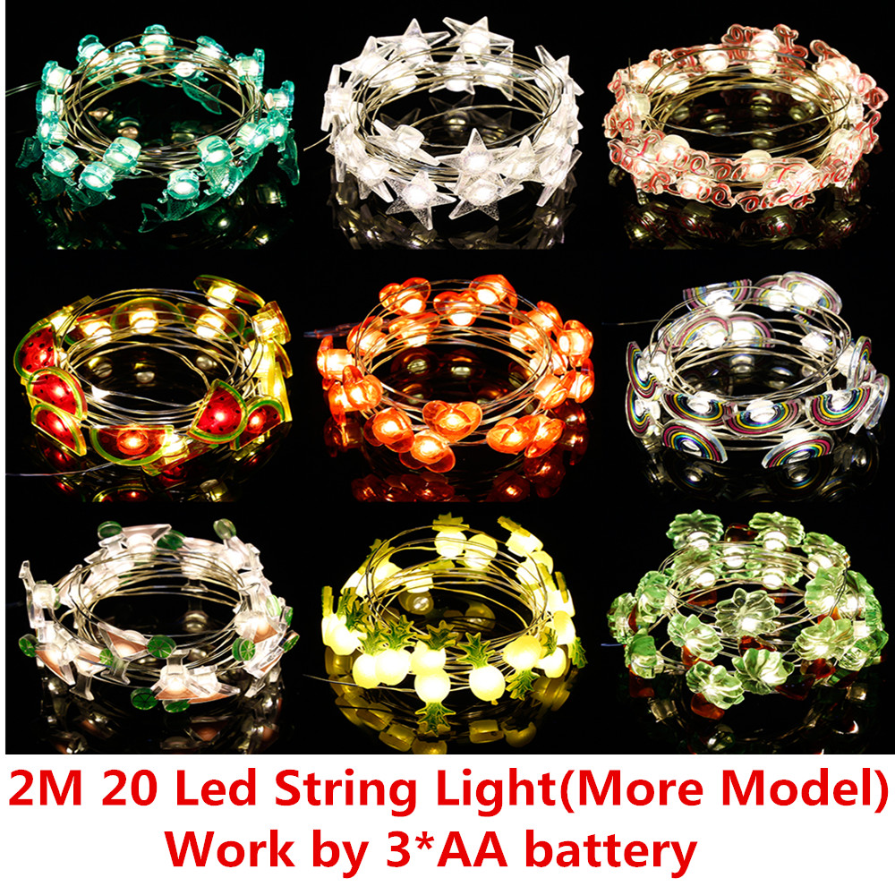 New 2M 20 Creative Fruit Funny LED Christmas Holiday String Lights Valentine Wedding Party Decoration Economic Battery Lights