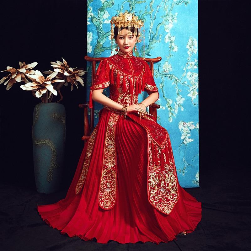 Red Dragon Phoenix Embroidery Dress Formal Chinese Style Wedding Qipao Long Sleeve Cheongsam Dress Vintage Oriental Dresses