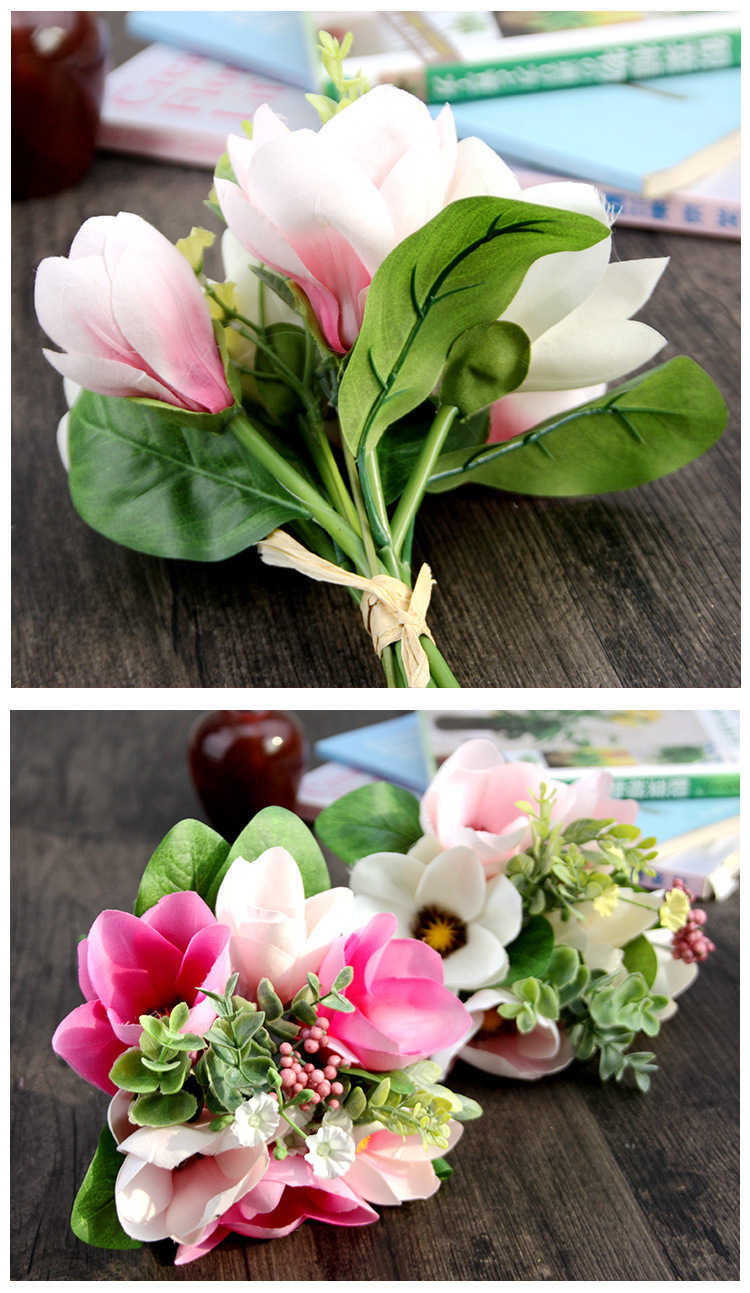 Factory Wholesale Artificial Magnolia Bouquet Silk Floral Flowers