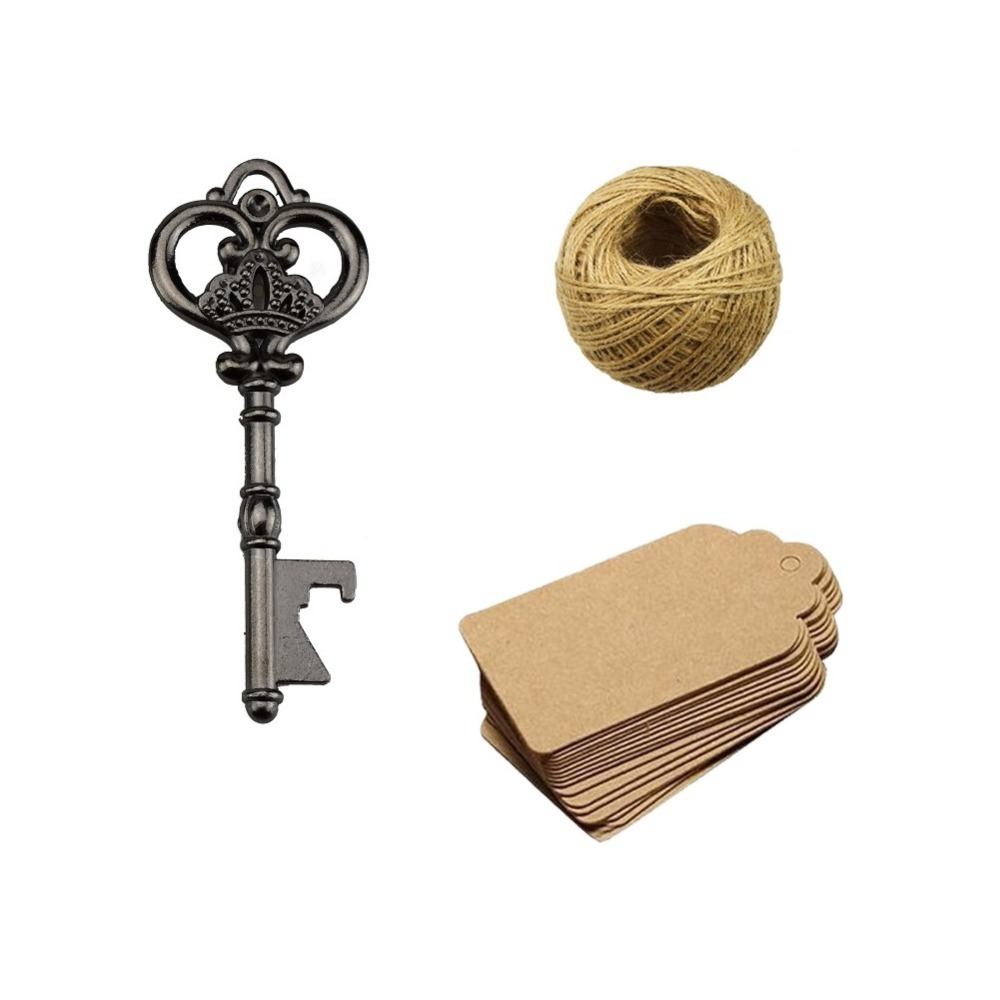 50Pcs Wedding Favors Vintage Skeleton Key Bottle Opener with 50pcs Escort Card Tag and Twine for Gues in Party DIY Decorations from Home Garden
