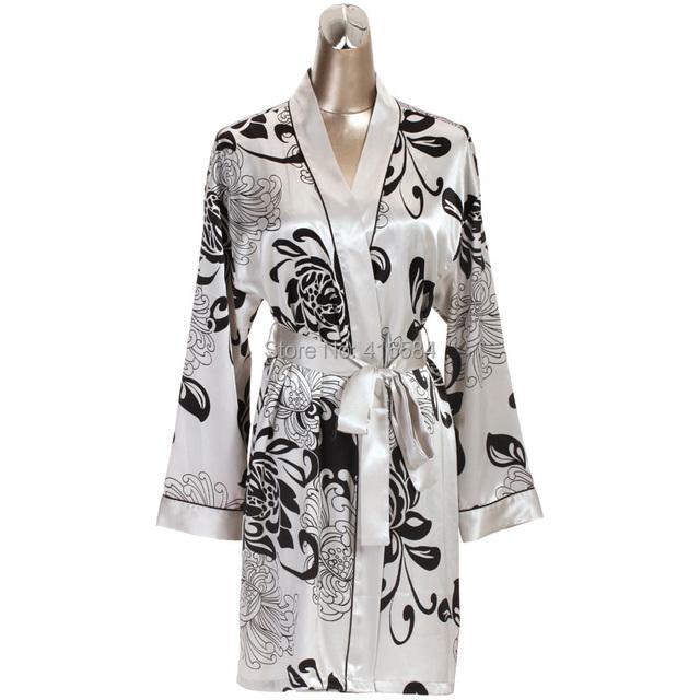 Para mujer bata y camisón de raso de seda ropa de noche de otoño casa ropa Cardigans y antideslizante mujeres de bata bata de baño