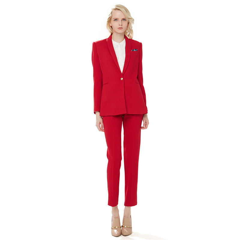 Red Girls Formal Suits One Button Ladies Office Uniform Womens Business Suits Female Trouser Suit B77