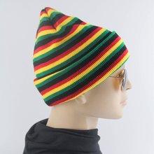 bcf0acaad1c44 Hat Beanie Slouch Stripe Striped Cap Winter Knitted Colours Men Women Warm