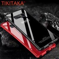 Lusso Antiurto Metallo di Alluminio + Cornice In vetro Temperato Copertura Posteriore Per il iphone X 8 7 6 6 s Più Samsung Galaxy Note 8 S8 Plus caso
