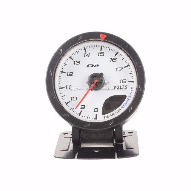 Volts Gauge Universal 2.5 ''60mm Cara Blanca D * fi CR avance voltaje ajustable/sensor con Rojo y la Iluminación blanca/auto gauge/Voltaje