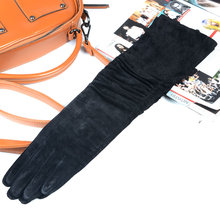 Womens Ladies Real leather Suede Leather black wrinkle Elbow mid-long gloves party evening long