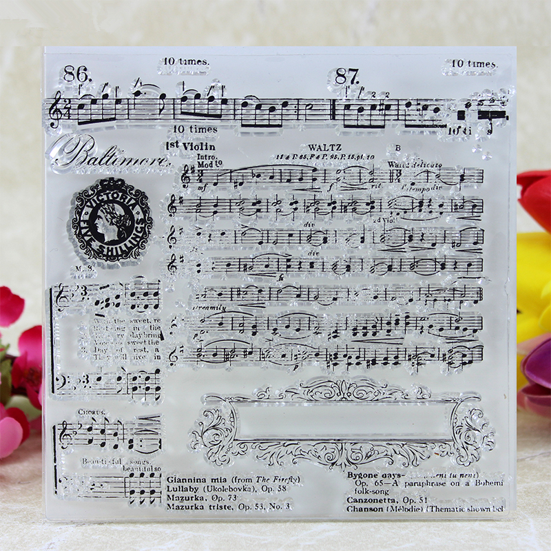 YLCS116 Music Silicone Clear Stamps For Scrapbooking DIY Album Cards Making Decoration Embossing Craft Rubber Stamp 14.5x14.5cm