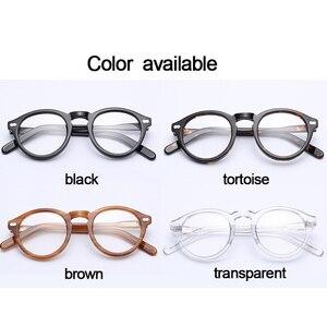Image 5 - Monture de lunettes optique rétro ronde en acétate, petite monture à lentilles transparentes pour femmes et hommes, monture de prescription