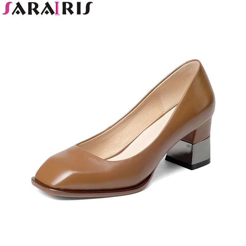SARAIRIS 2018 Spring Anturm Western Style Genuine Leather Pumps Shallow Slip-On High Square Heel Women Shoes Large Size 33-43 nayiduyun women genuine leather wedge high heel pumps platform creepers round toe slip on casual shoes boots wedge sneakers