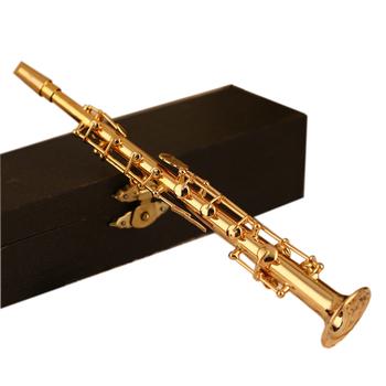 MoonEmbassy Mini saksofon sopranowy Model miniaturowy Model saksofonu z metalowy stojak do dekoracji wnętrz tanie i dobre opinie Złoty lakier Mosiądz Bakelitu Spada dostroić b (c)