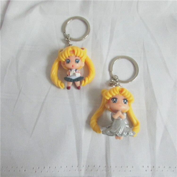Anime Sailor Moon Key Chain Mars Jupiter Venus Mercury Key Chains PVC Figure Toys Keyring Bag Pendants Gift for Kids