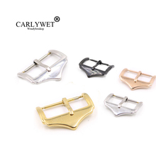 CARLYWET 14 16 18 20 22mm Wholesale Replacement 316L Stainless Steel Silver Black Rose Gold 2mm Tang Tongue Pin Watch Buckle